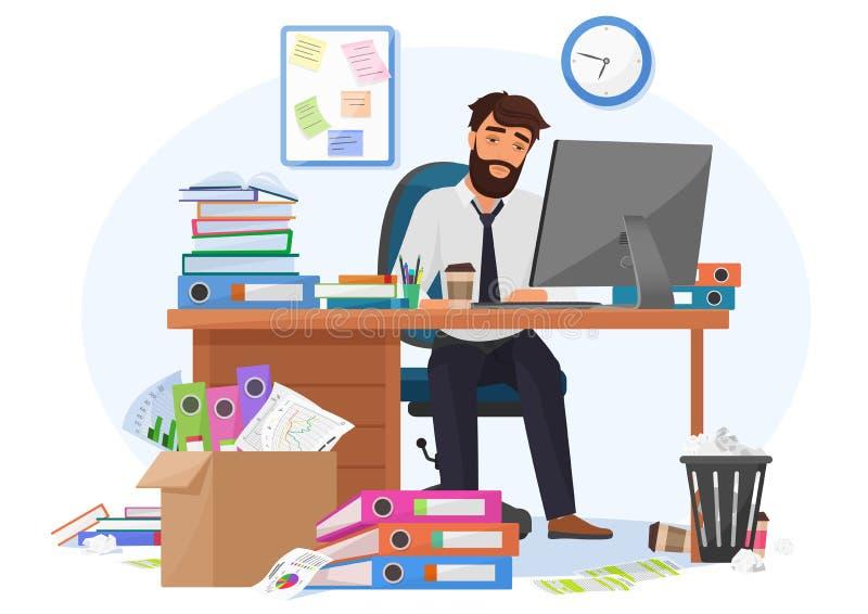 El oficinista de sexo masculino soñoliento cansado permanece tarde en lugar de trabajo Sobrecargue el papeleo, cumpliendo plazos, libre illustration