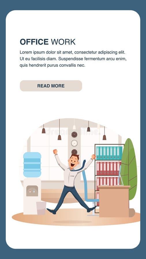 El oficinista feliz salta para arriba en Coworking moderno libre illustration