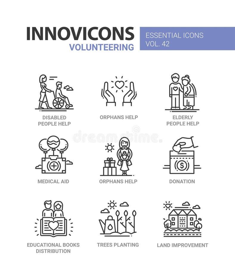 El ofrecerse voluntariamente - línea moderna iconos del vector del diseño fijados stock de ilustración