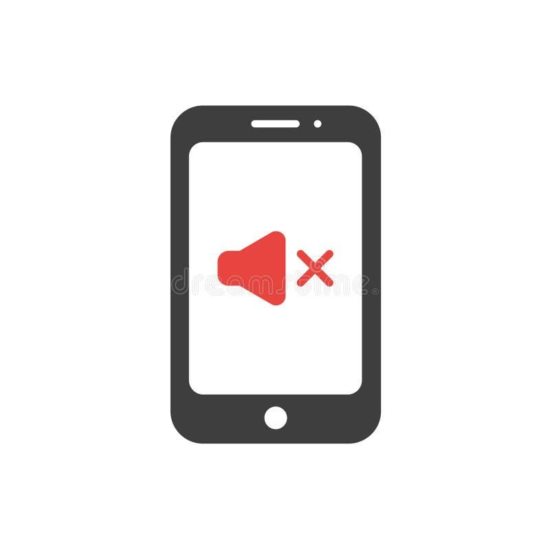 El ofspeaker plano del concepto del vector del diseño suena apagado en smartphone libre illustration
