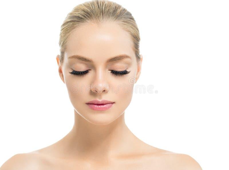 El ojo azota macro de la cara de la belleza de la mujer foto de archivo