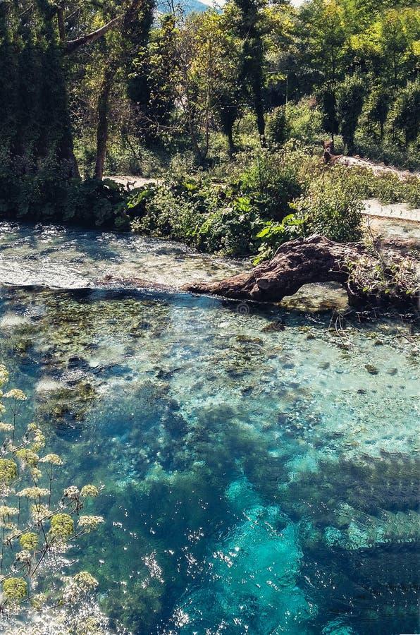 El ojo azul en Albania, primavera de agua famosa de la señal y fenómeno natural foto de archivo libre de regalías