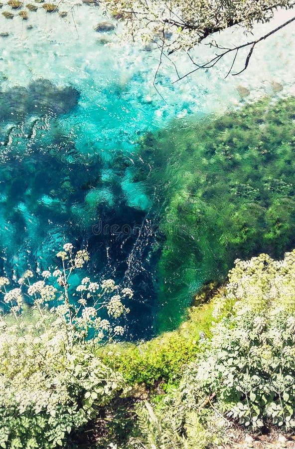 El ojo azul en Albania, primavera de agua famosa de la señal y fenómeno natural imágenes de archivo libres de regalías