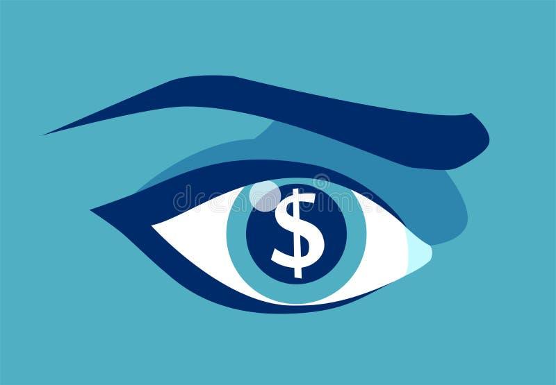 El ojo codicioso con el dólar firma adentro el alumno stock de ilustración