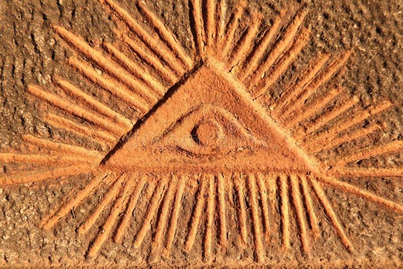 El ojo de dios - viejo alivio imagen de archivo