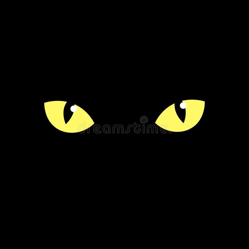 El ojo de un gato negro. ojos de un gato amarillo en la oscuridad. Ilustración del vector ilustración del vector