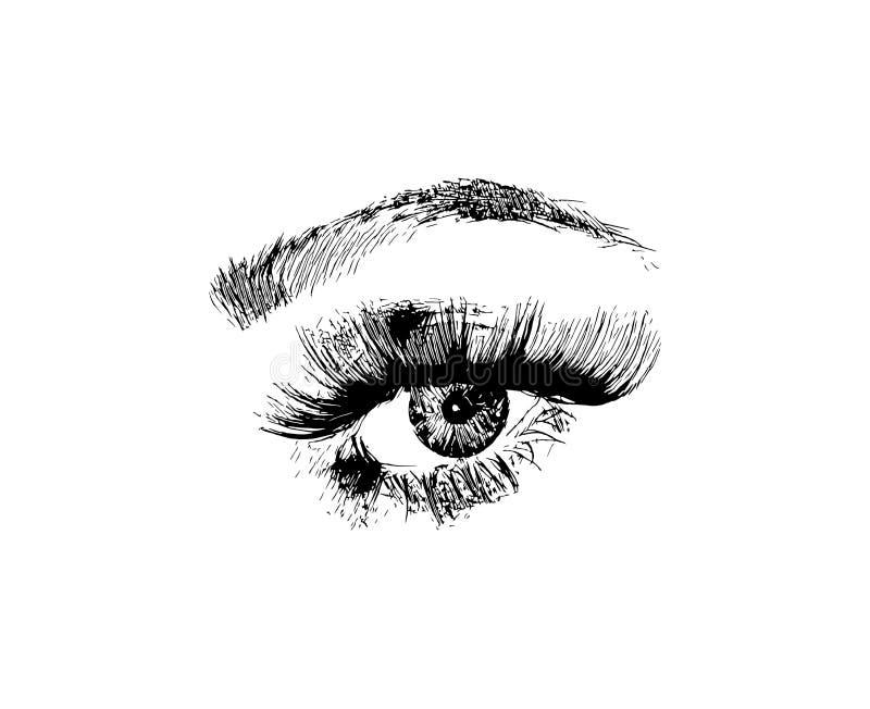 El ojo exhausto de la moda de las mujeres de la mano del vector compone el ejemplo en el fondo blanco stock de ilustración