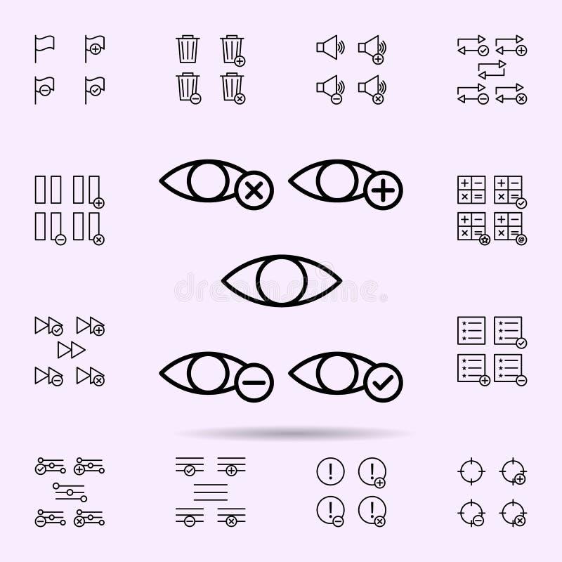 el ojo, m?s, quita, menos, icono de la muestra del control sistema universal de los iconos del web para el web y el m?vil stock de ilustración