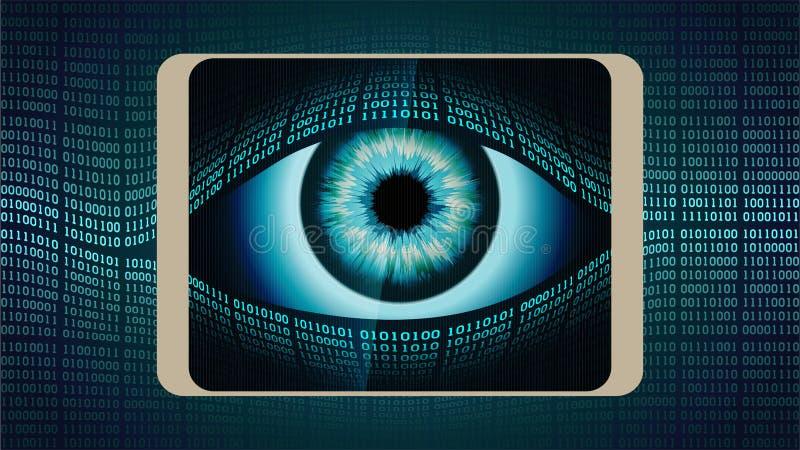 El ojo todo-que ve del hermano mayor en su smartphone stock de ilustración