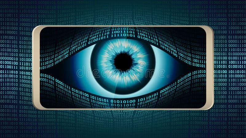 El ojo todo-que ve del hermano mayor en su smartphone, concepto de vigilancia secreta global permanente usando los dispositivos m ilustración del vector