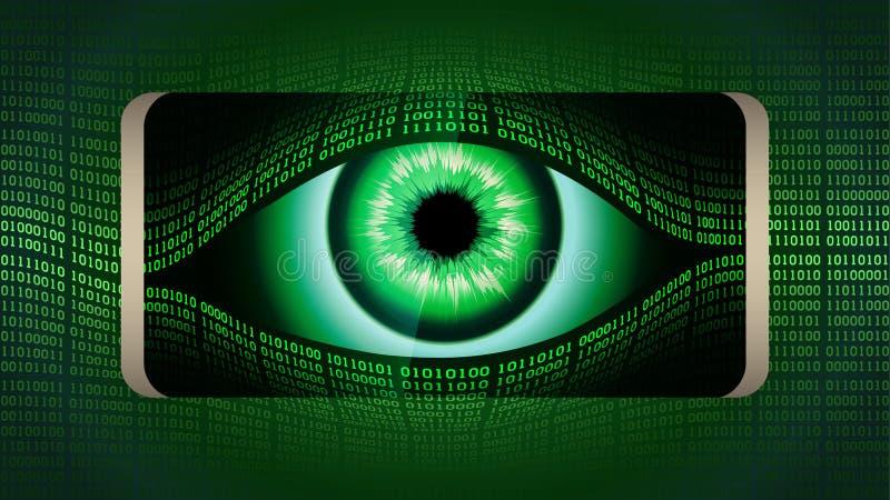 El ojo todo-que ve del hermano mayor en su smartphone, ofconcept del concepto de vigilancia secreta global permanente libre illustration