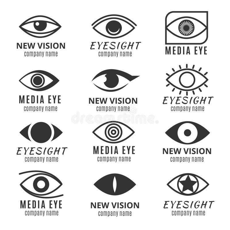 El ojo, ve, medios sistema del vector de los logotipos de la visión ilustración del vector