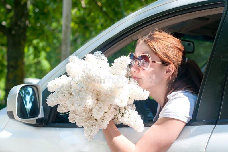 El oler beuty de la primavera con la lila blanca florece fragancia fotos de archivo libres de regalías