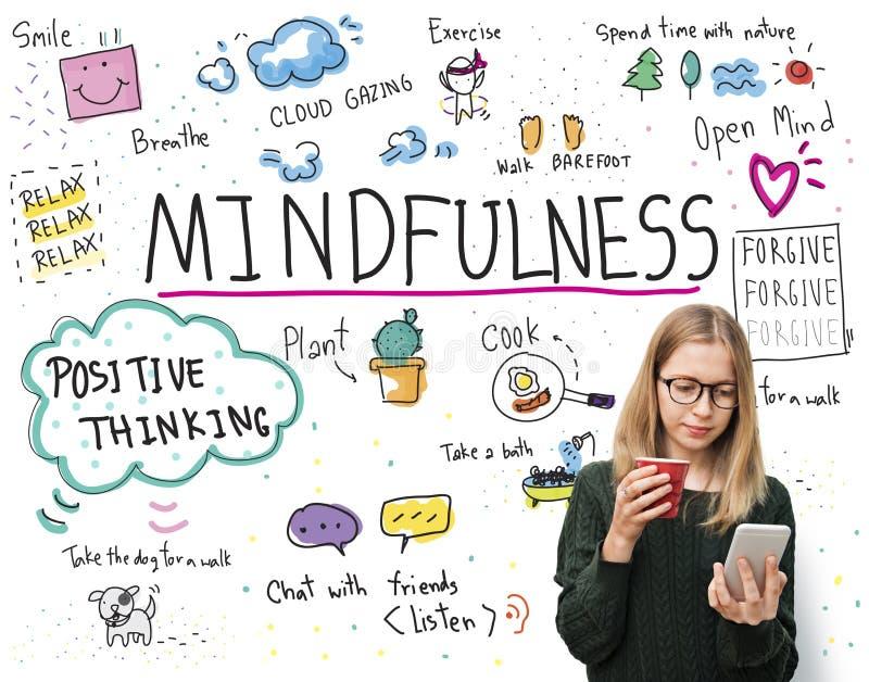 El optimismo del Mindfulness relaja a Harmony Concept fotos de archivo