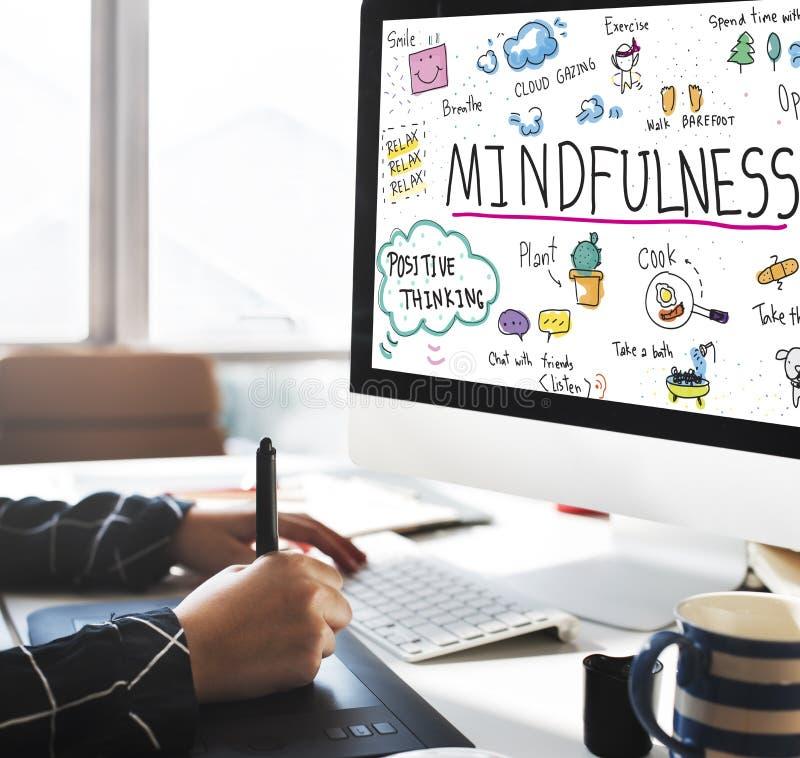 El optimismo del Mindfulness relaja a Harmony Concept foto de archivo