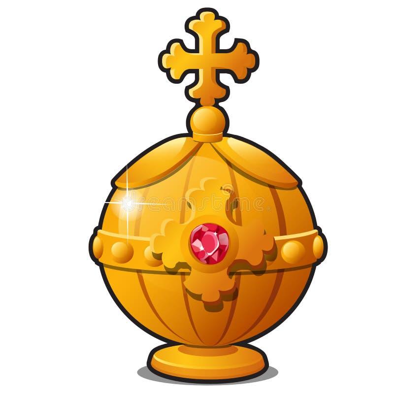 El orbe de oro del emperador adornado con el rubí de la piedra preciosa aislado en el fondo blanco Un símbolo de la grandeza y libre illustration