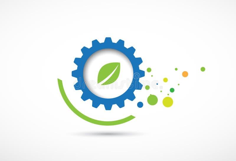 El ordenador abstracto del negocio y de la tecnología de la ecología del engranaje vector vagos libre illustration