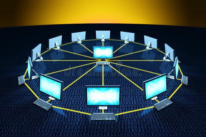 El ordenador conecta datos de comunicación de la red stock de ilustración