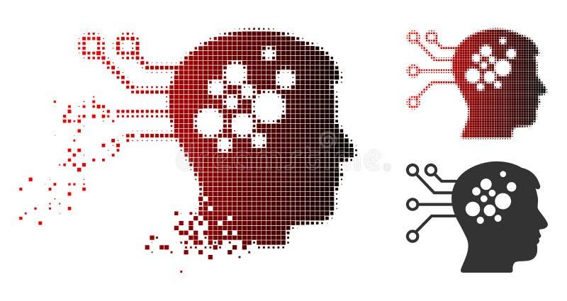 El ordenador de los nervios de semitono de desintegración de Pixelated liga el icono stock de ilustración