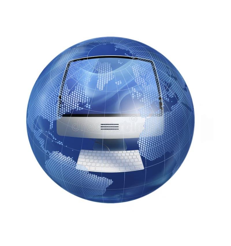 El ordenador en el globo foto de archivo libre de regalías