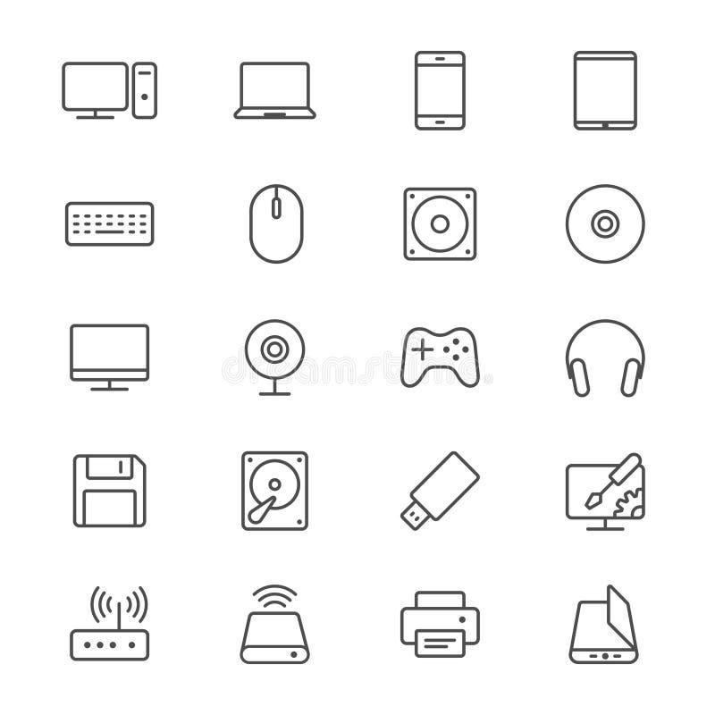 El ordenador enrarece iconos stock de ilustración