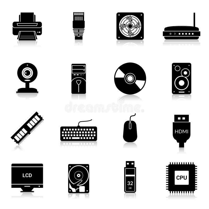 El ordenador parte negro de los iconos ilustración del vector