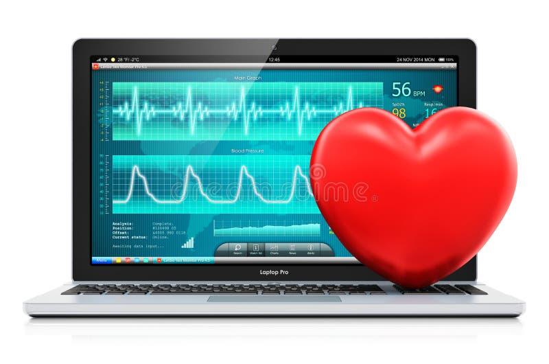 El ordenador portátil con software de diagnóstico médico y el corazón rojo forman stock de ilustración