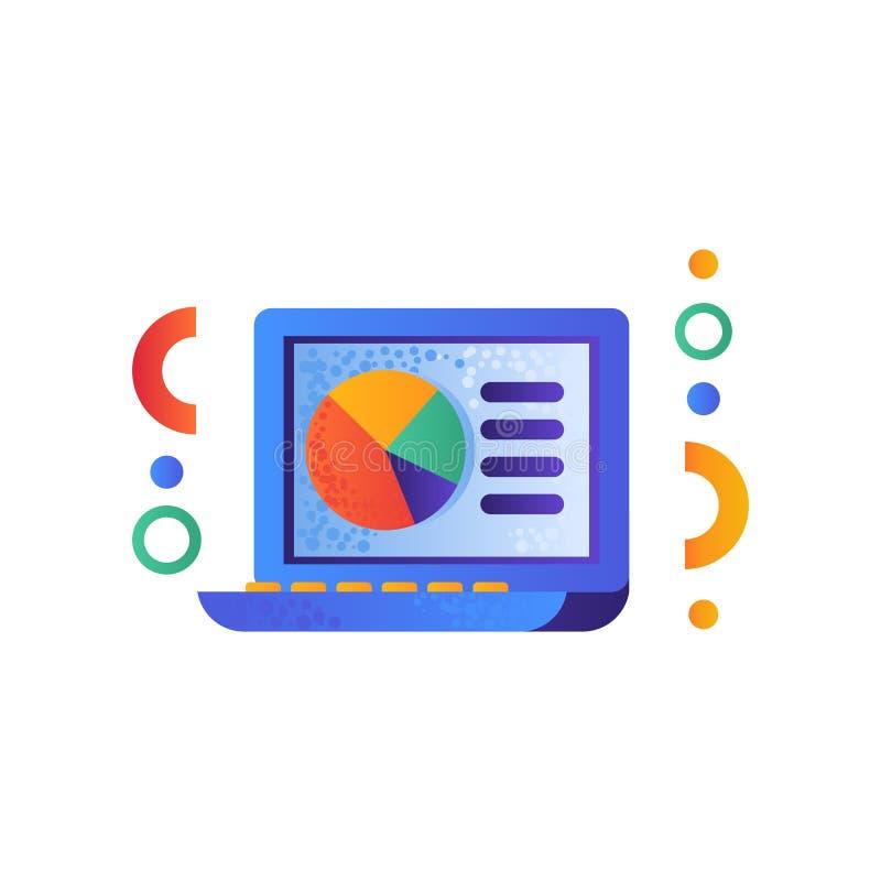 El ordenador portátil, concepto de la educación del aprendizaje electrónico, fuentes de escuela vector el ejemplo en un fondo bla libre illustration