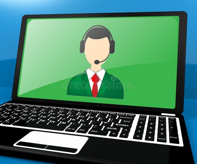 El ordenador portátil de Voip muestra el ejemplo de la voz 3d de Internet ilustración del vector