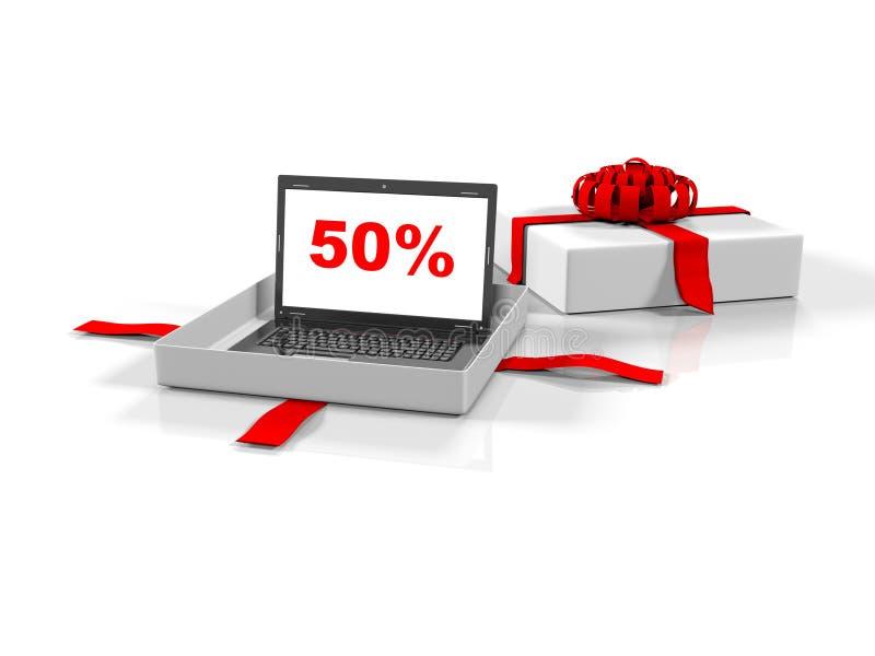 El ordenador portátil en una caja de regalo con el 50 por ciento de la imagen en el fondo blanco de la pantalla, 3d rinde stock de ilustración