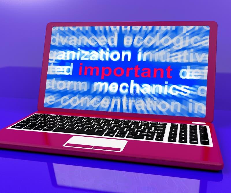 El ordenador portátil importante muestra la información esencial crítica en línea libre illustration