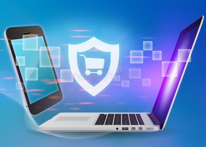 El ordenador portátil y el teléfono con el escudo cart el icono en un azul ilustración del vector