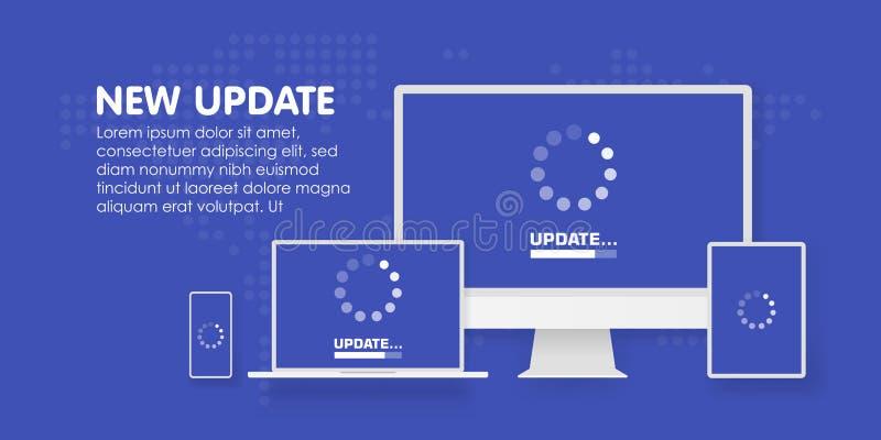El ordenador, el ordenador portátil y el smartphone con la actualización procesan la pantalla Instale el nuevo software, ayuda de libre illustration