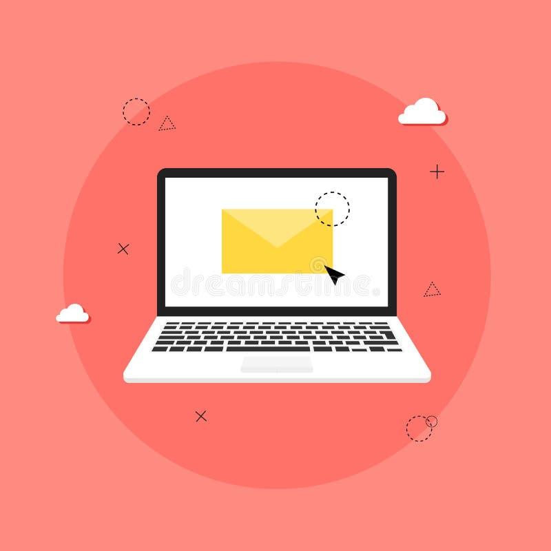 El ordenador port?til con el sobre y abre el correo electr?nico en la pantalla M?rketing del correo electr?nico, conceptos de la  ilustración del vector