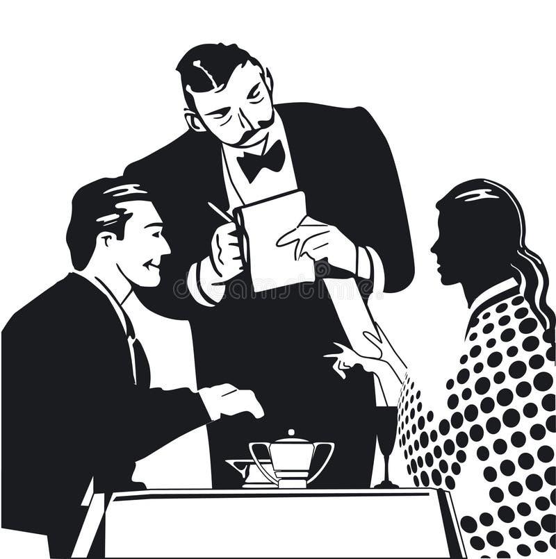 El ordenar de un camarero ilustración del vector