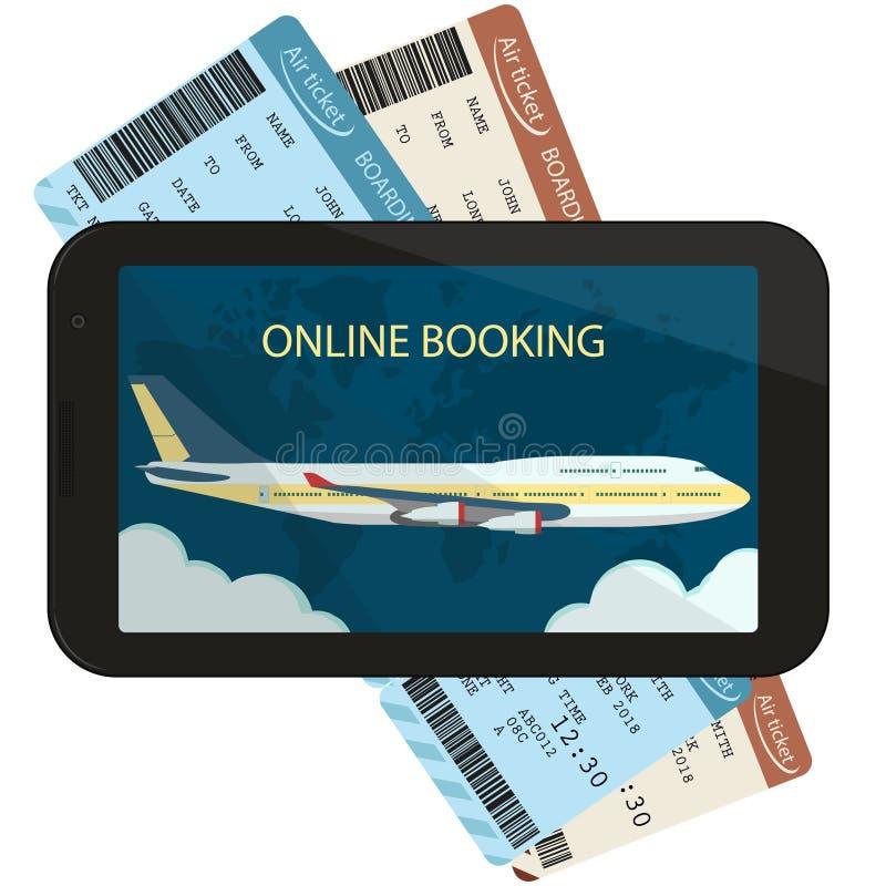 El ordenar en línea y reservación de los billetes de avión Vector libre illustration