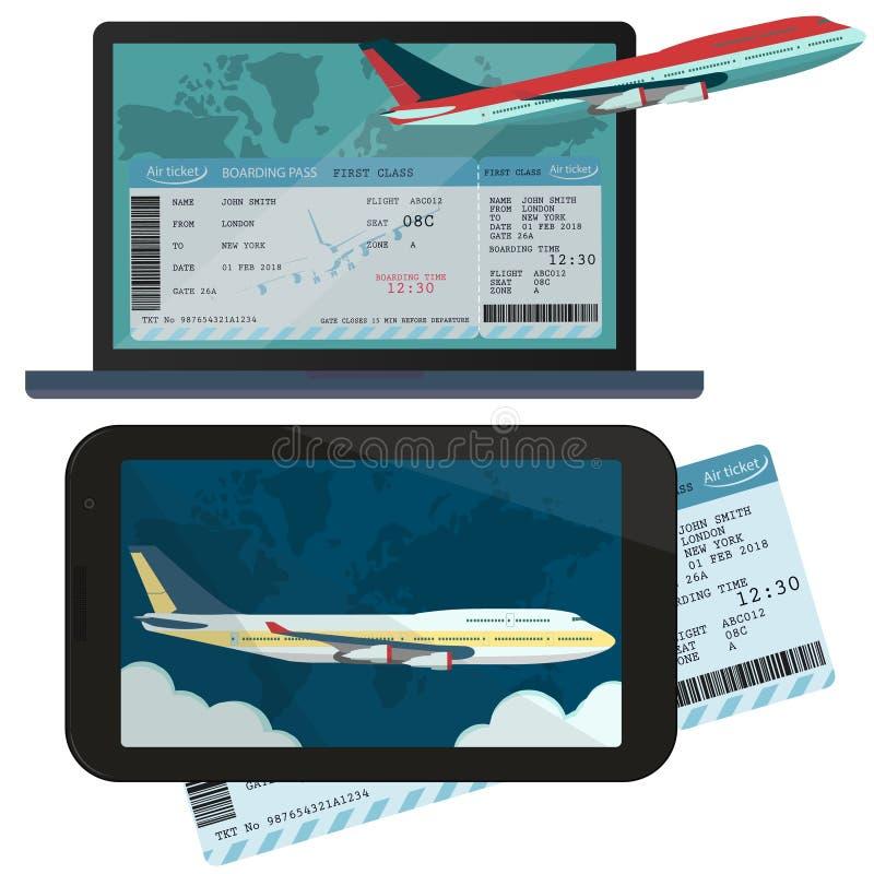 El ordenar en línea y reservación de los billetes de avión Vector ilustración del vector