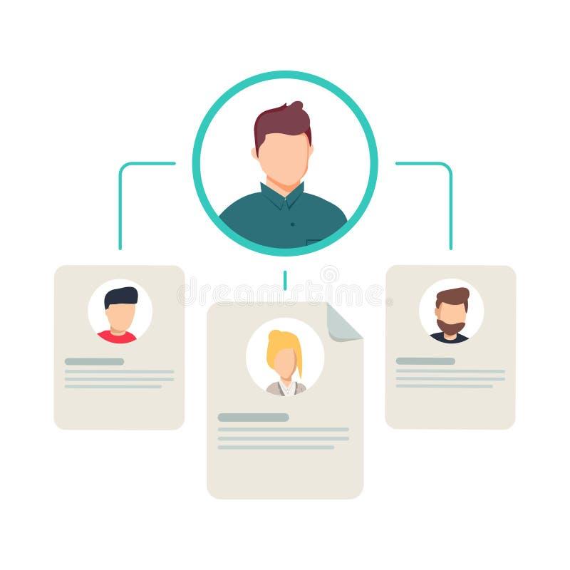 El organigrama del trabajo en equipo, la jerarquía o la estructura de la pirámide del equipo del negocio, organización del negoci ilustración del vector