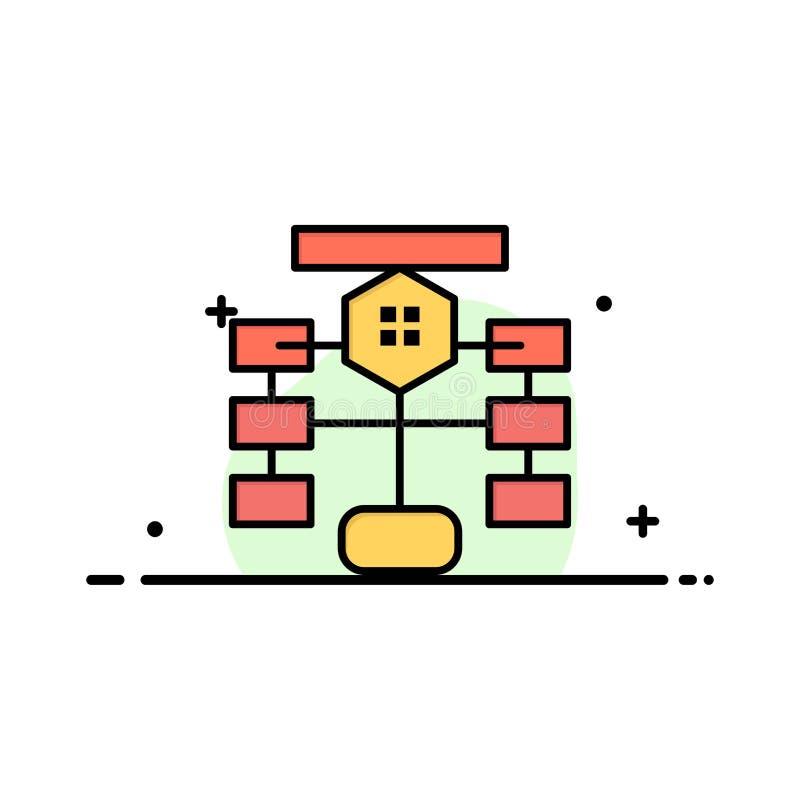 El organigrama, flujo, carta, datos, línea plana del negocio de la base de datos llenó la plantilla de la bandera del vector del  ilustración del vector