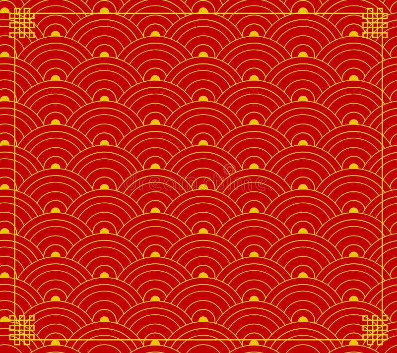 El ornamento chino del vector, formas de onda, circunda el fondo, colores del Rojo-oro, contexto con las esquinas libre illustration