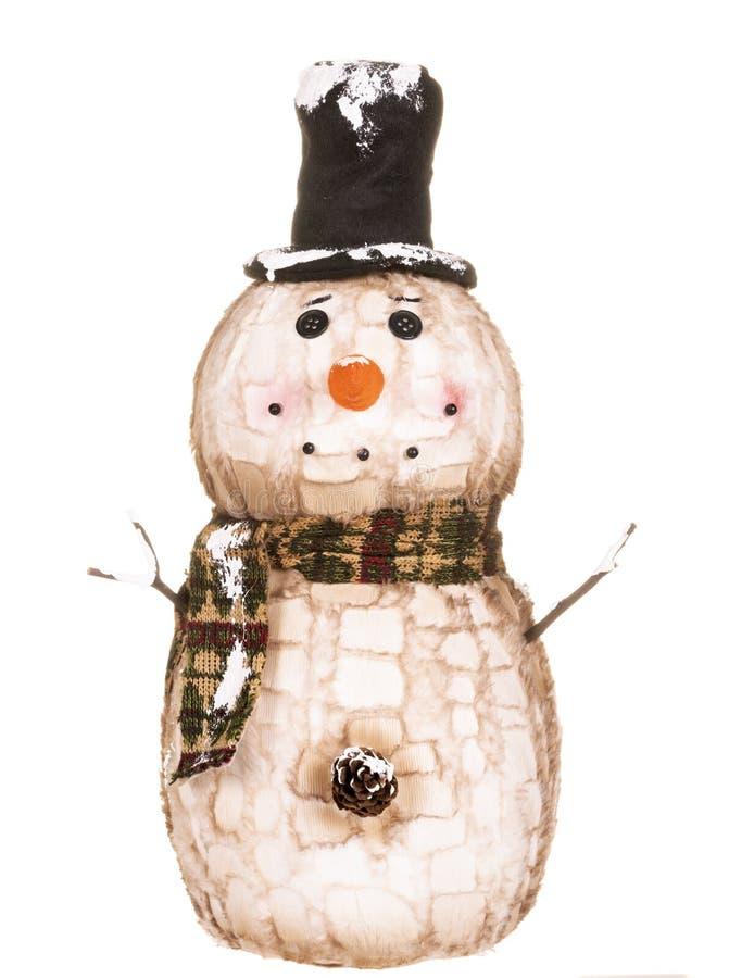 El ornamento hecho casero del muñeco de nieve aisló imagen de archivo