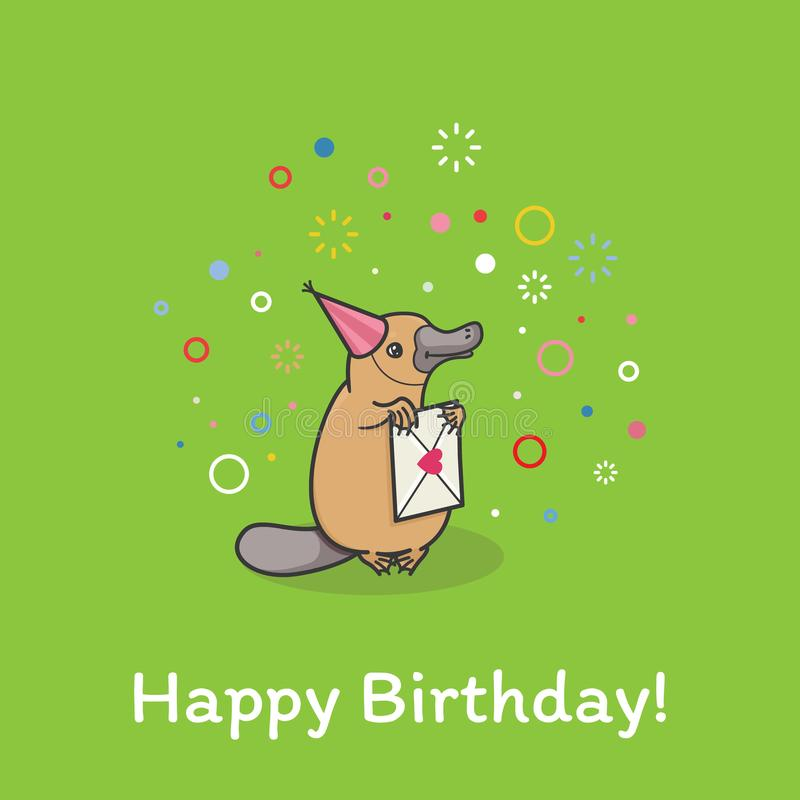 El ornitorrinco lindo divertido se coloca en un casquillo festivo en la fiesta de cumpleaños ilustración del vector