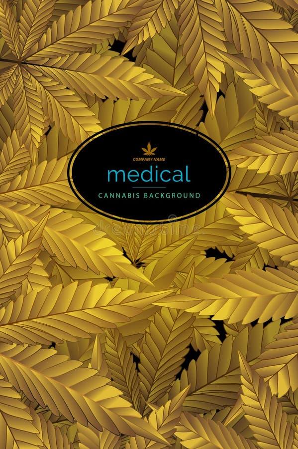 El oro abstracto de la hoja del c??amo, hojas de la marijuana modela el ejemplo del vector del fondo libre illustration