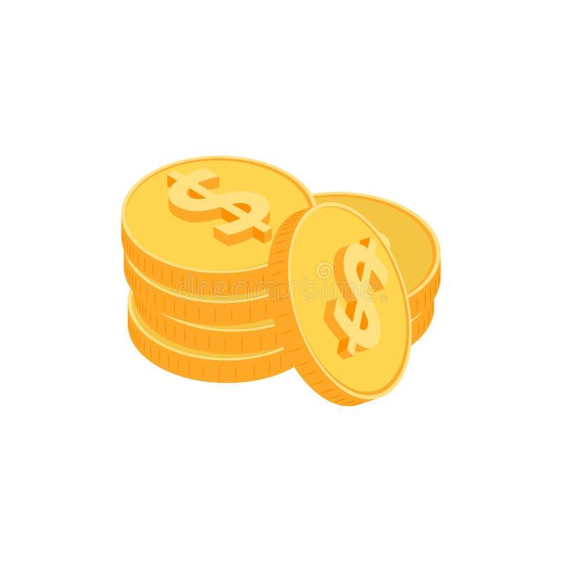 El oro acuña isométrico stock de ilustración