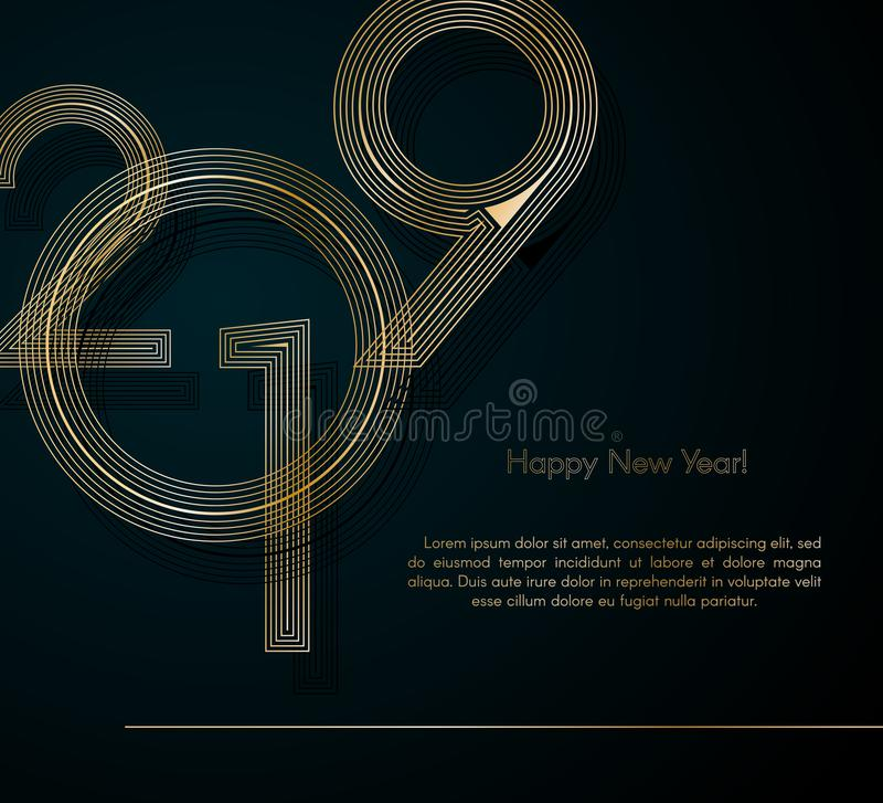 El oro alinea 2019 Años Nuevos en un elemento creativo del fondo oscuro para las tarjetas de lujo del diseño que las invitaciones stock de ilustración