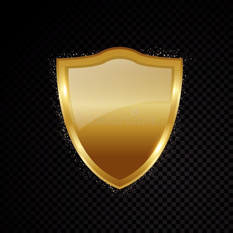El oro blinda brillantemente el logotipo de la protección de seguridad que brilla intensamente libre illustration