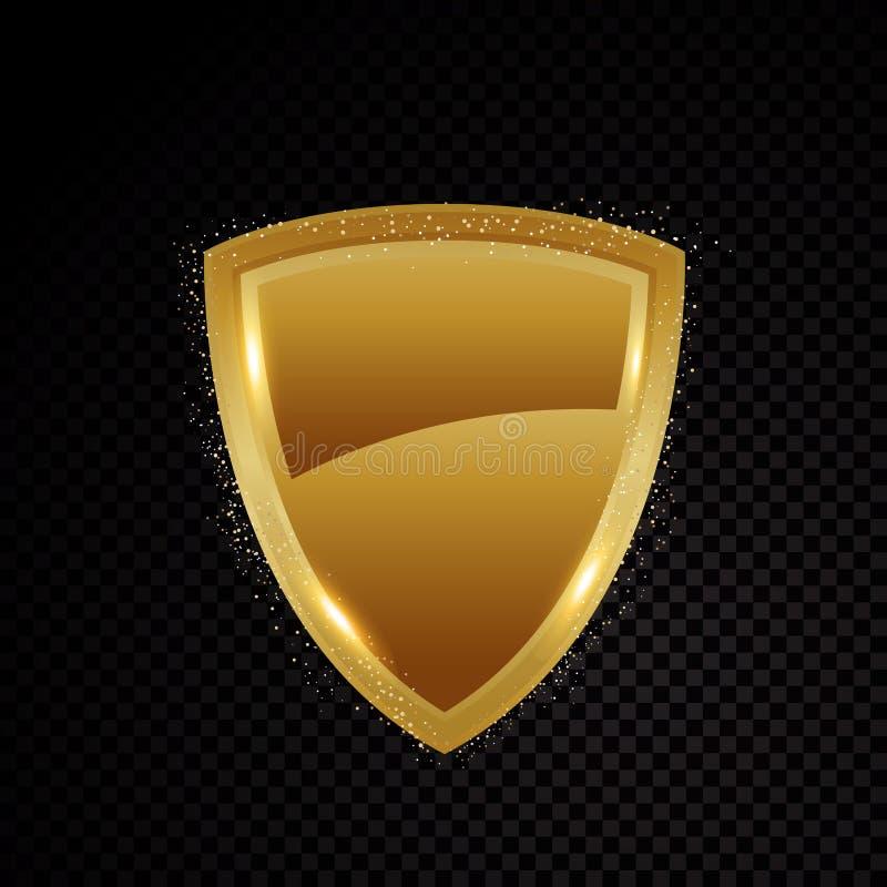 El oro blinda brillantemente el logotipo de la protección de seguridad que brilla intensamente ilustración del vector