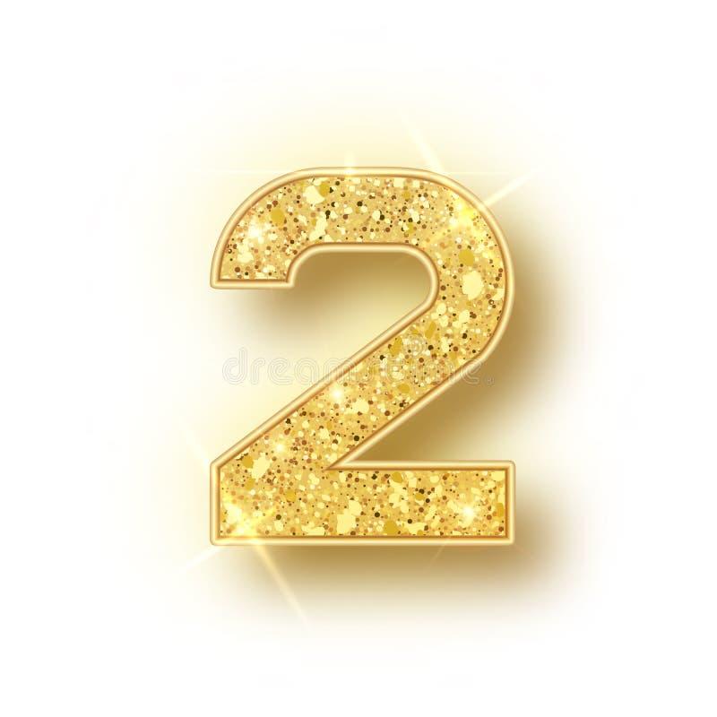 El oro brilla los números 2 del alfabeto con la sombra Realistick del vector que brilla la fuente de oro número dos de chispas en libre illustration
