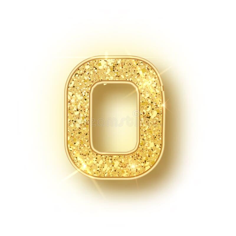El oro brilla los números 0 del alfabeto con la sombra Realistick del vector que brilla el número de fuente de oro cero de chispa libre illustration