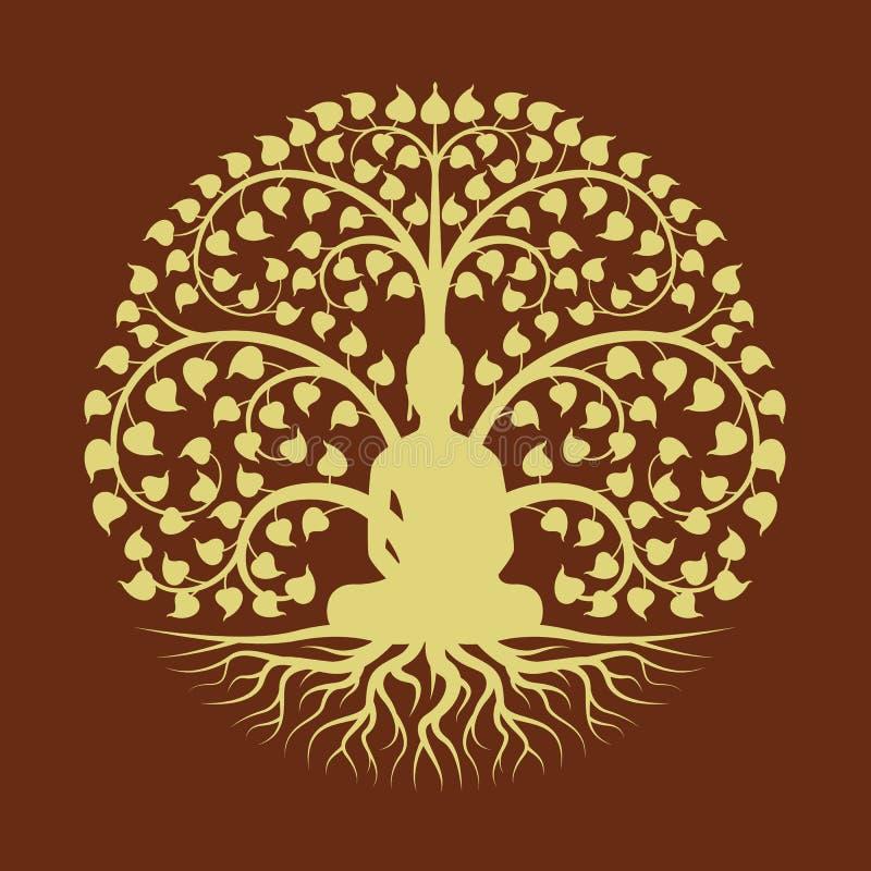 El oro Buda medita conforme a diseño del vector del estilo de la muestra del círculo del árbol de Bodhi libre illustration